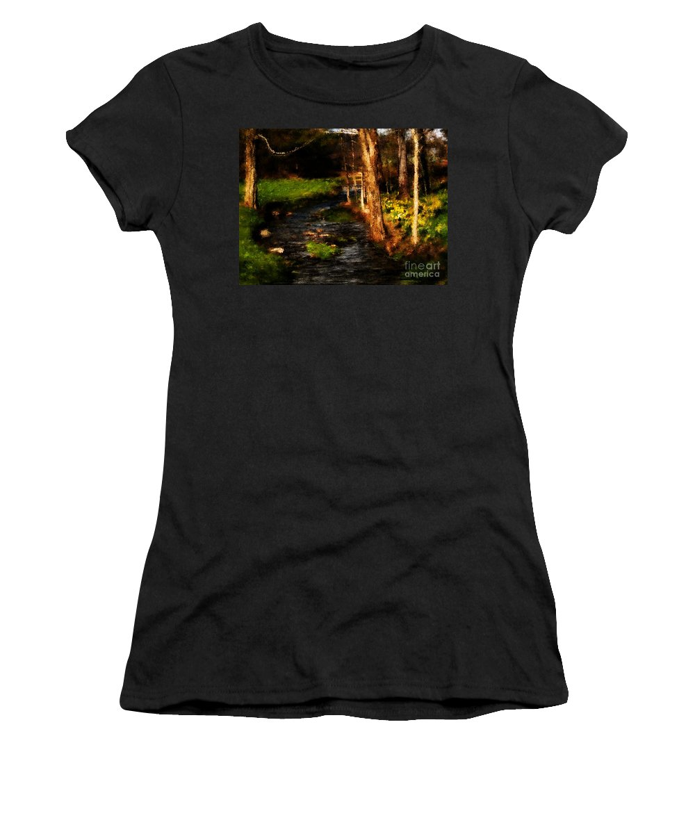 Digital Photo Women's T-Shirt (Athletic Fit) featuring the photograph Country Stream by David Lane