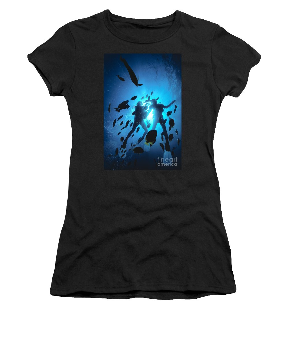Blue Women's T-Shirt (Athletic Fit) featuring the photograph Couple And Fish by Ed Robinson - Printscapes