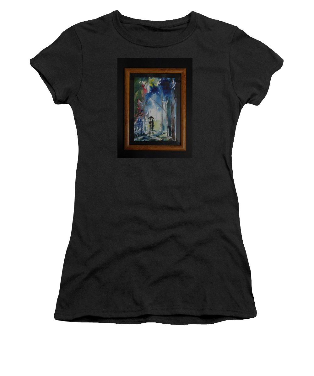Village Women's T-Shirt (Athletic Fit) featuring the painting Couples Walking In A Village by Muraliprakash Karuvankudlu