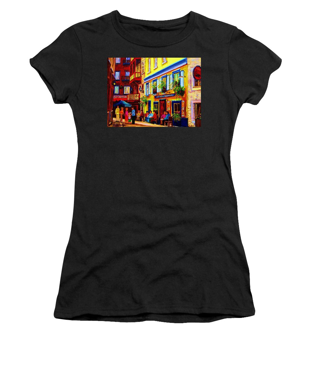 Courtyard Cafes Women's T-Shirt (Athletic Fit) featuring the painting Courtyard Cafes by Carole Spandau