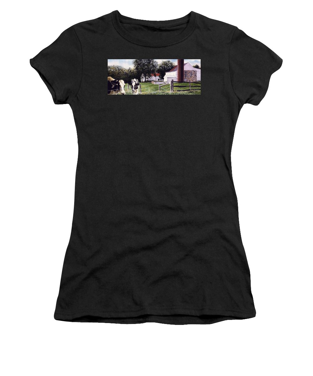 Cows Women's T-Shirt (Athletic Fit) featuring the painting Cow Spotting by Denny Bond