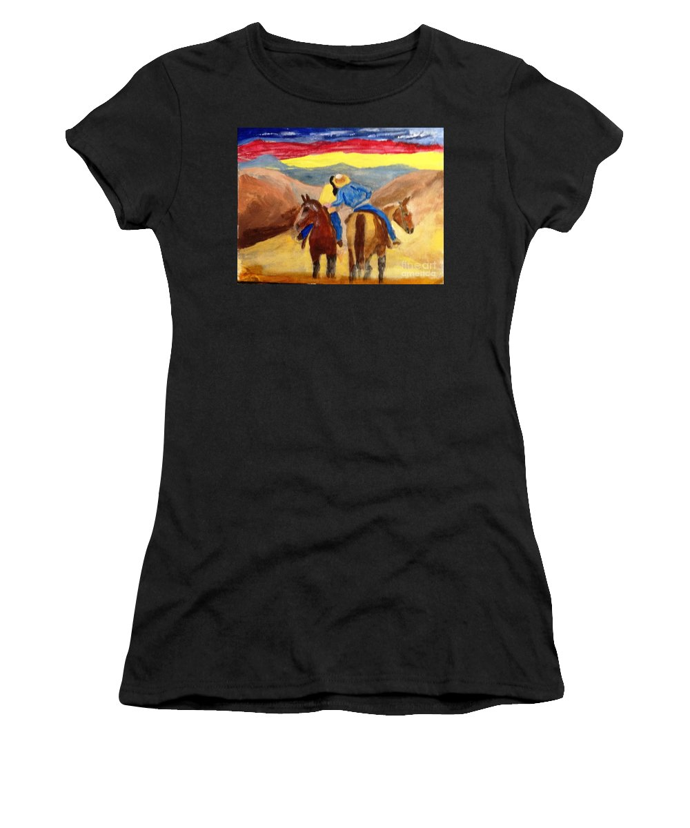 Cowboy Women's T-Shirt featuring the painting Cowboy Kisses Cowgirl by Joe Hagarty