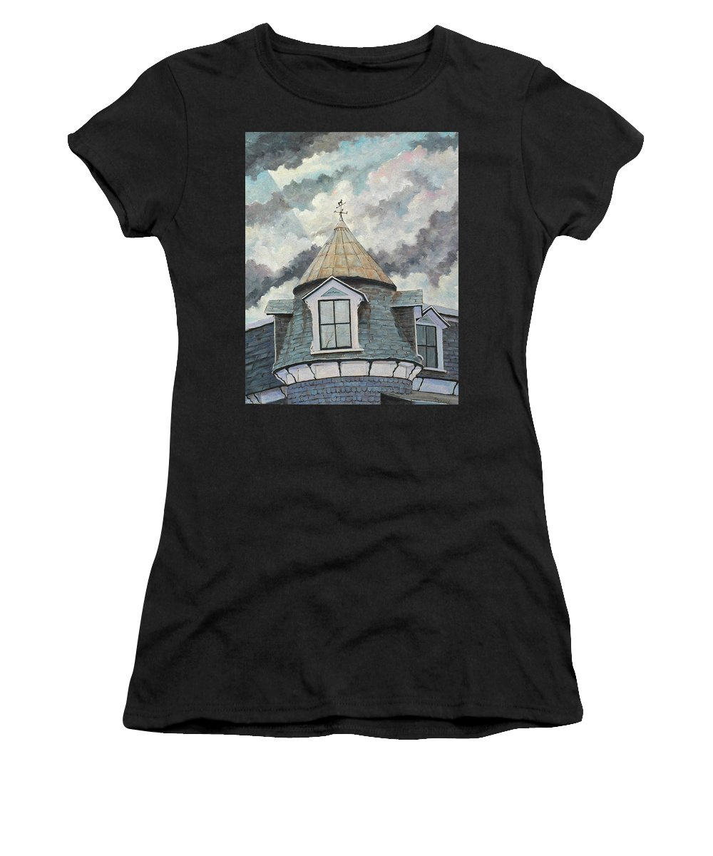 Art Women's T-Shirt featuring the painting Crack The Sky_reserve by Richard T Pranke