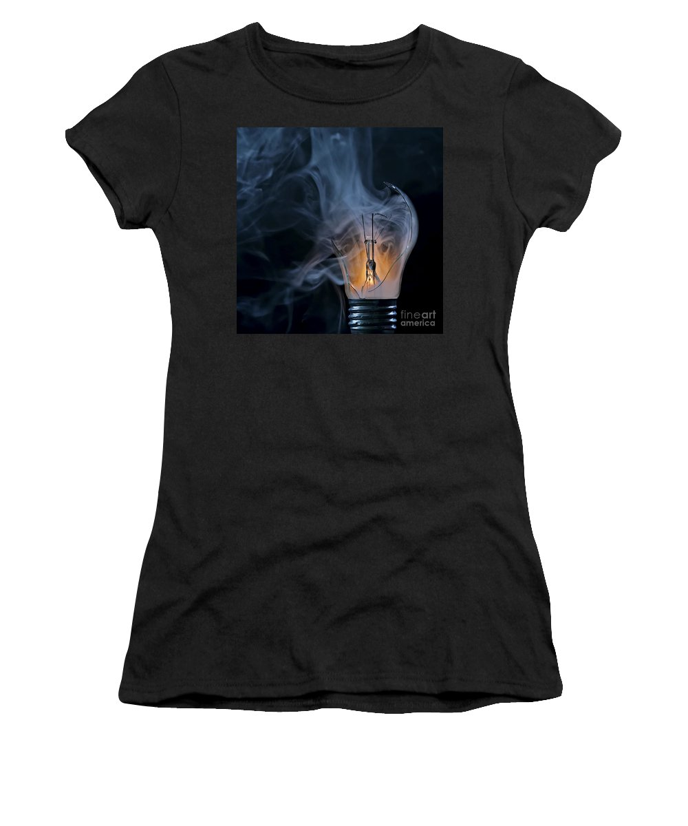 Bulb Women's T-Shirt (Athletic Fit) featuring the photograph Cracked Bulb by Michal Boubin