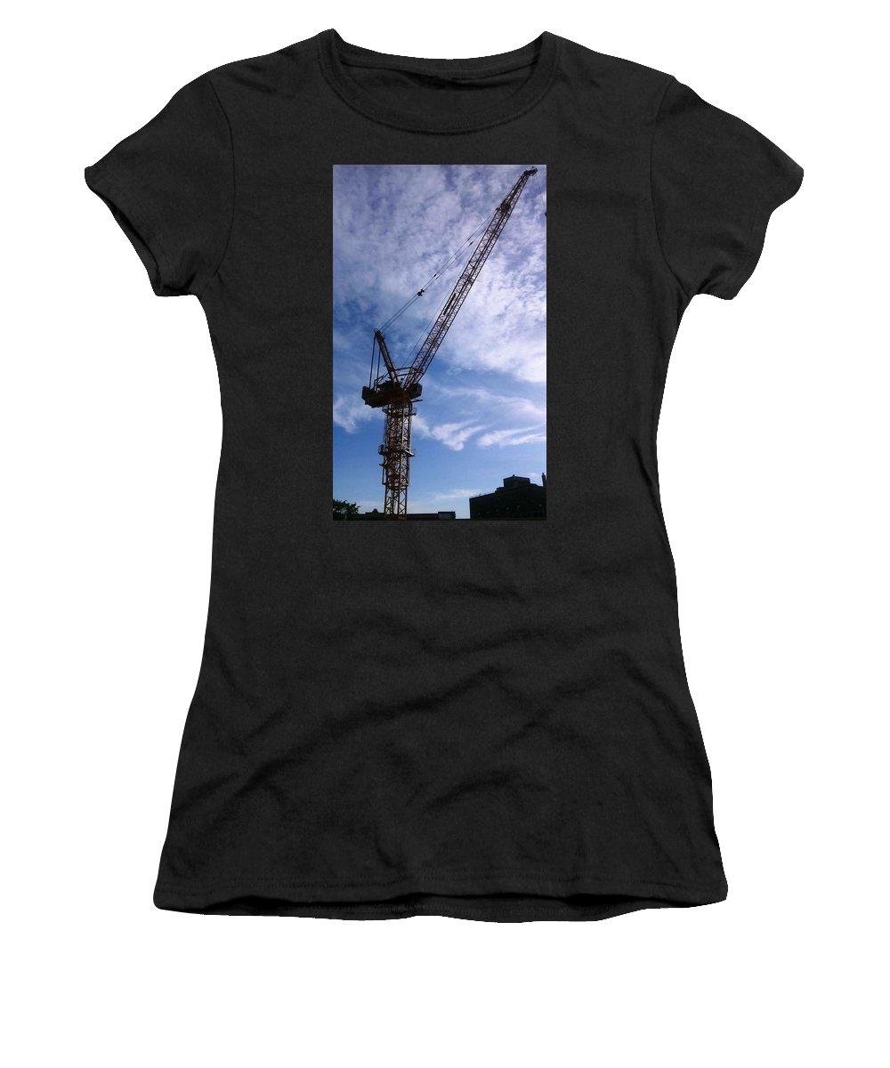 Women's T-Shirt (Athletic Fit) featuring the photograph Crane Bk by Rory Dunn