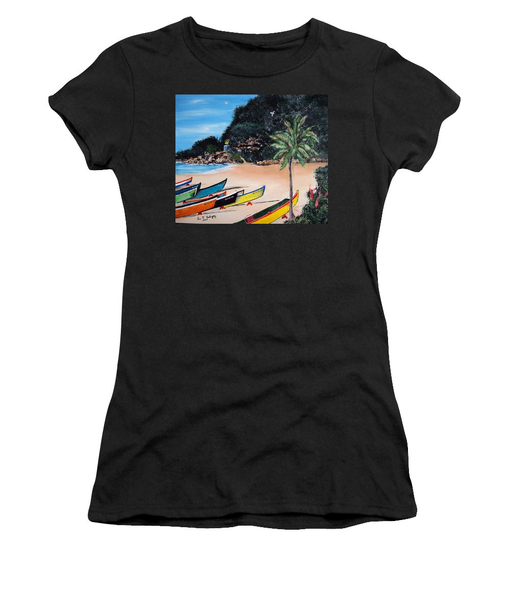 Aguadilla Women's T-Shirt featuring the painting Crashboat Beach I by Luis F Rodriguez