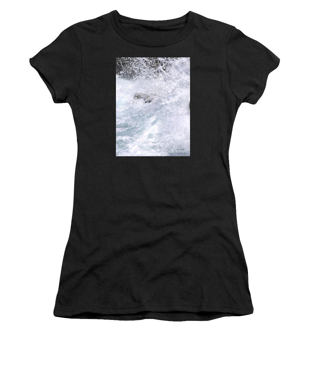 White Water Women's T-Shirt featuring the photograph Crashing Against Lava Rocks by Mary Deal