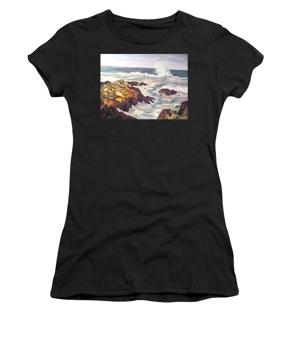 Water Women's T-Shirt featuring the painting Crashing Wave On Maine Coast by Richard Nowak