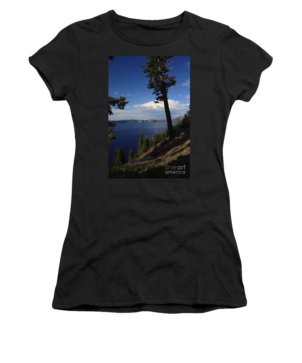 Landscape Women's T-Shirt (Athletic Fit) featuring the photograph Crater Lake 7 by Carol Groenen