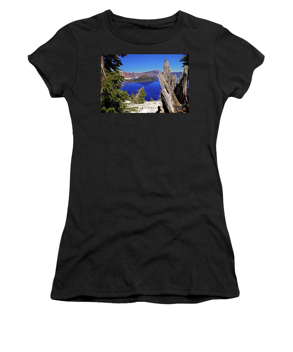 Oregon Women's T-Shirt featuring the photograph Crater Lake And Wizard Island by Rich Walter