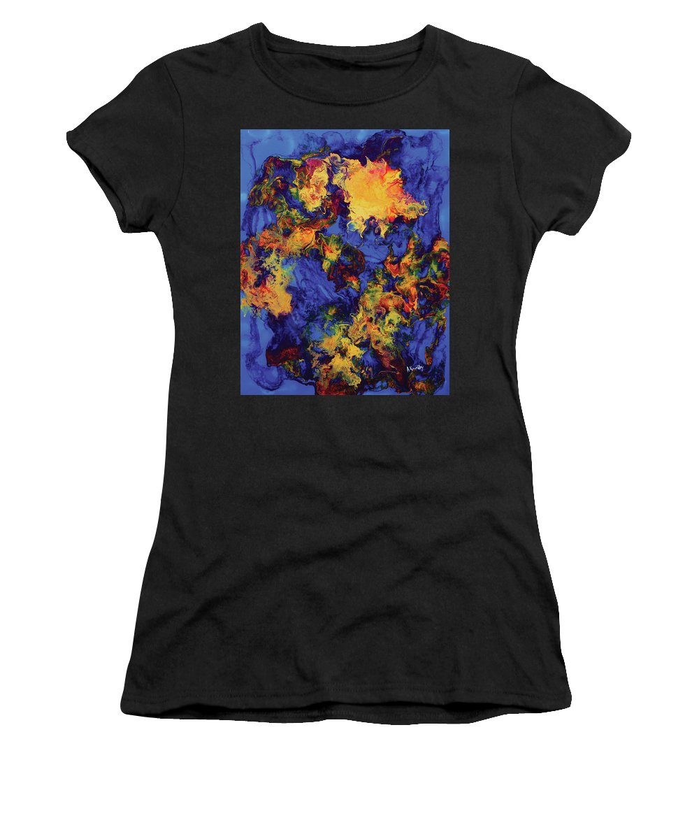 Abstract Women's T-Shirt (Athletic Fit) featuring the painting Creature From The Depth by Amy Nordby