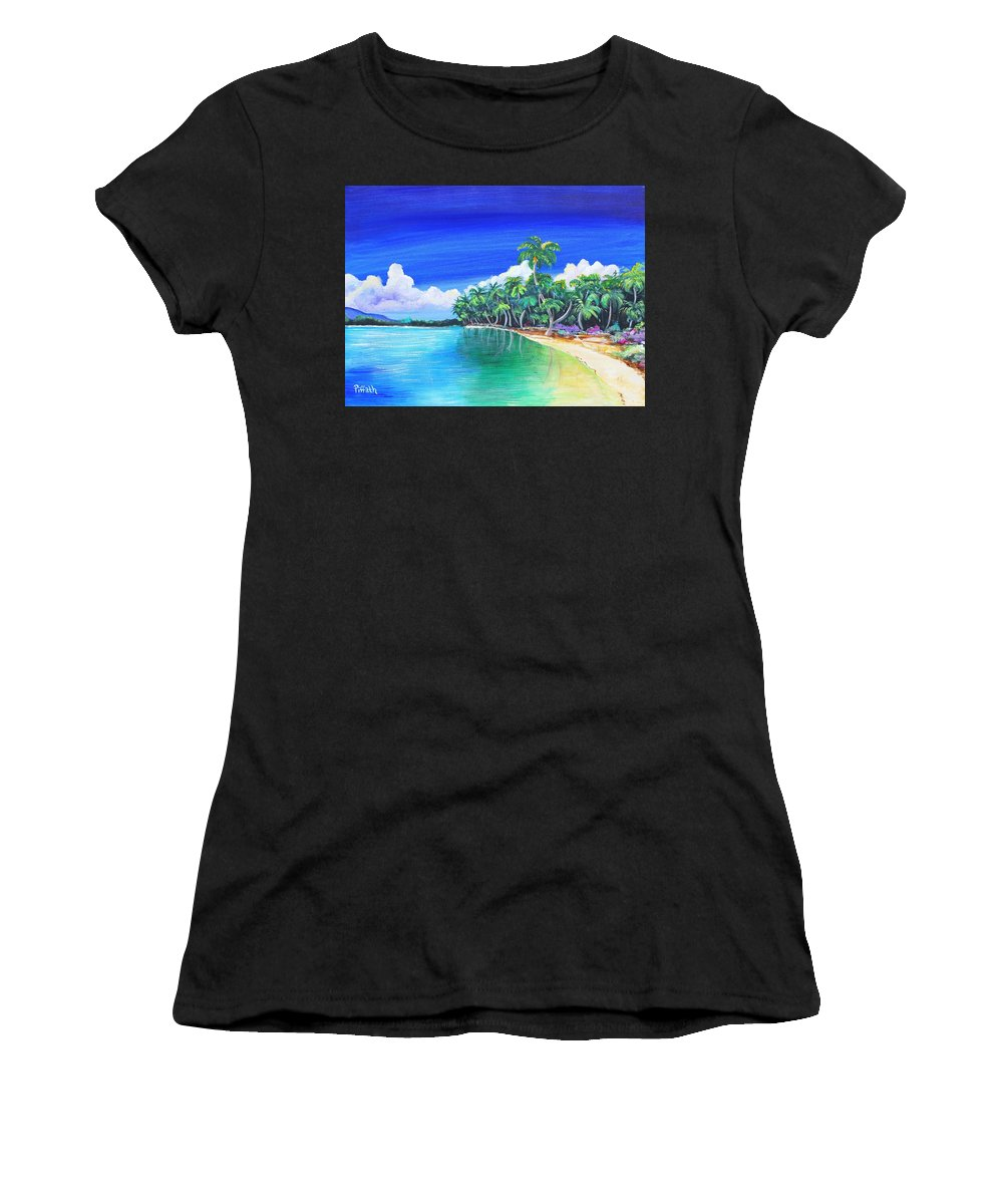 Crescent Beach Women's T-Shirt (Athletic Fit) featuring the painting Crescent Beach by Patricia Piffath