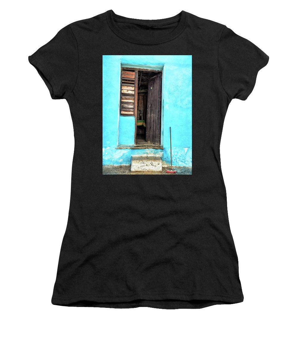 Doorway Women's T-Shirt featuring the photograph Crooked Blue by Robin Zygelman