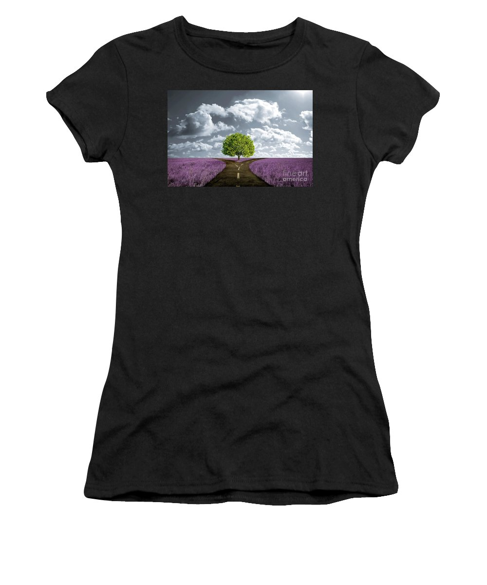 Crossroad Women's T-Shirt featuring the digital art Crossroad In Lavender Meadow by Giordano Aita