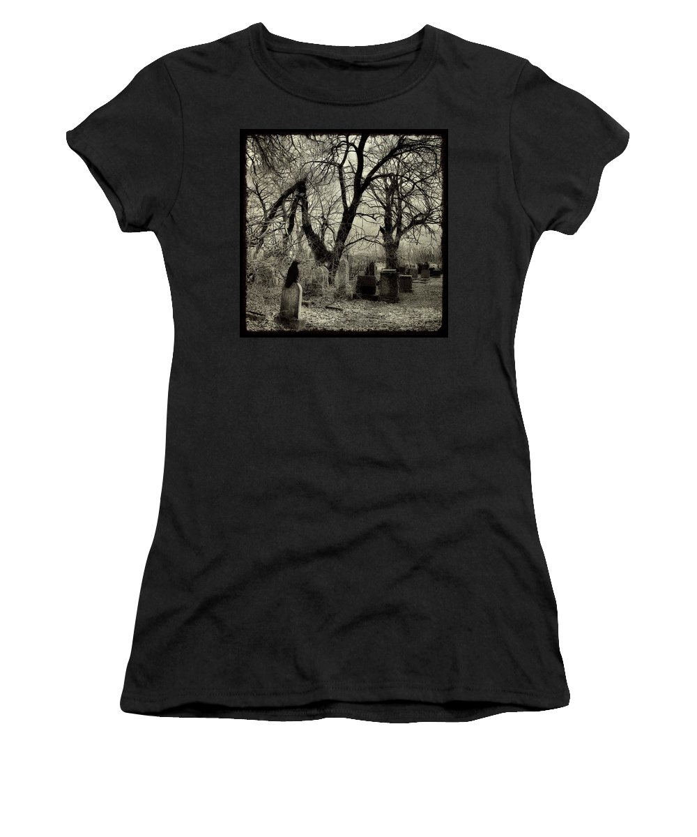 Crow Women's T-Shirt (Athletic Fit) featuring the photograph Crow Waits On Tombstone by Gothicrow Images