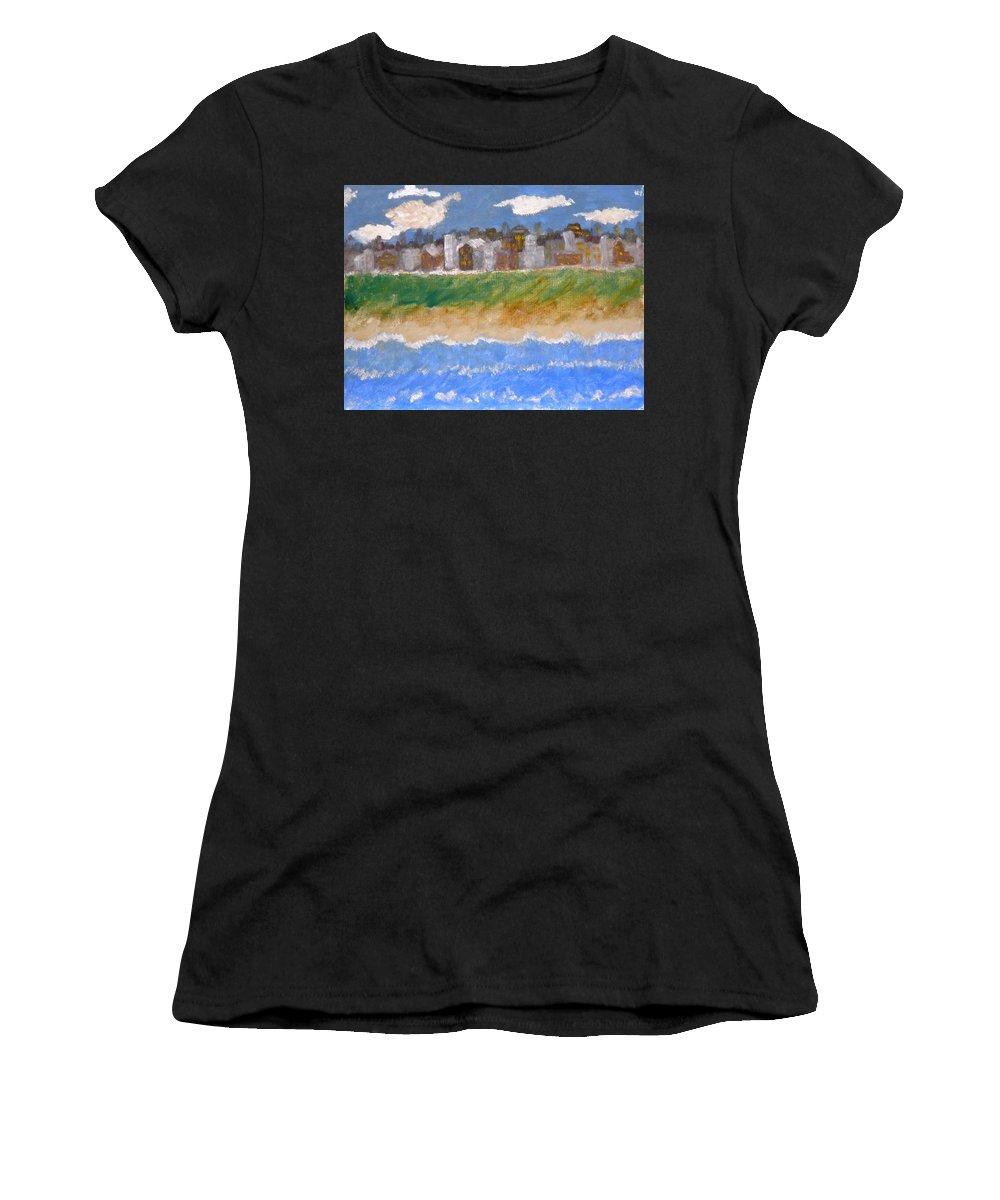 Seascape Women's T-Shirt (Athletic Fit) featuring the painting Crowded Beaches by R B