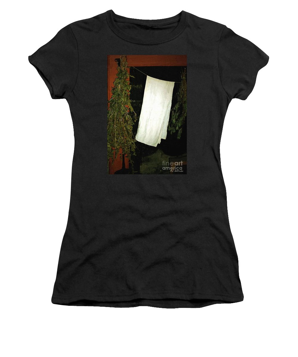 Americana Women's T-Shirt (Athletic Fit) featuring the painting Crowded Hearth by RC DeWinter