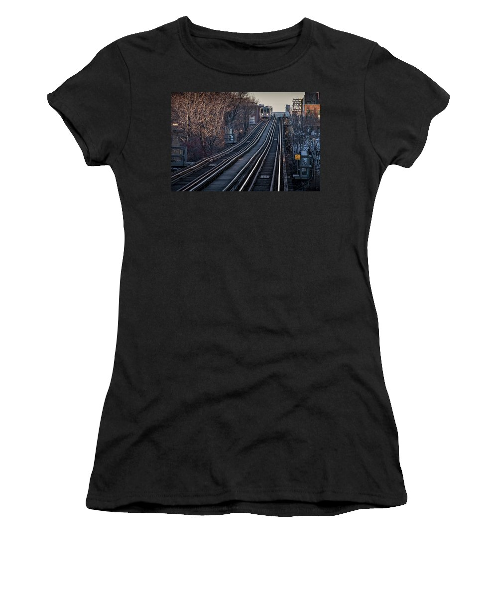 Women's T-Shirt featuring the photograph Cta Train Approaching Damen Avenue Station Chicago Illinois by Jim Pearson