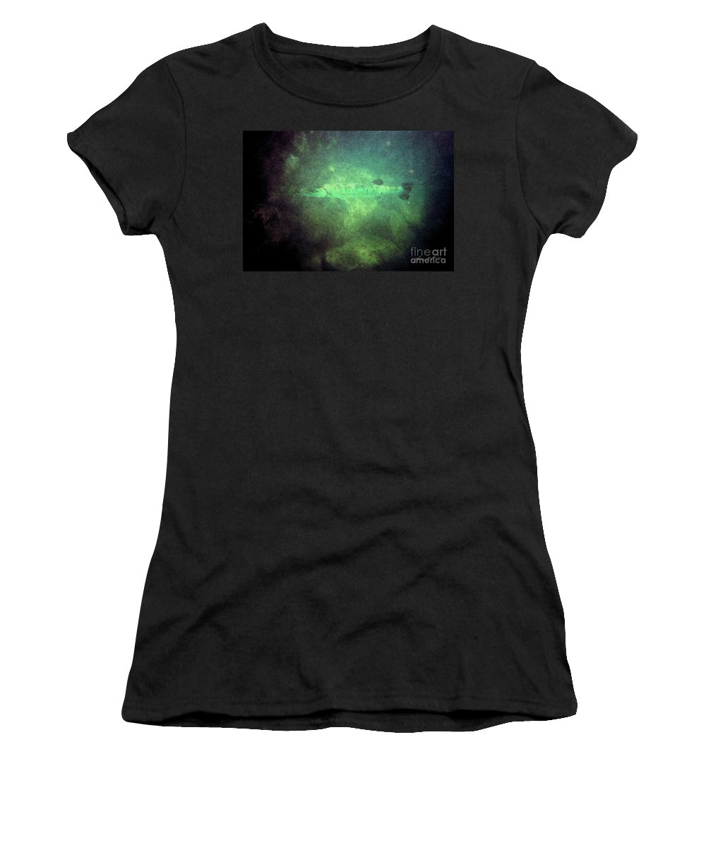 Barracuda Women's T-Shirt (Athletic Fit) featuring the digital art Cuda In The Water by Tommy Anderson