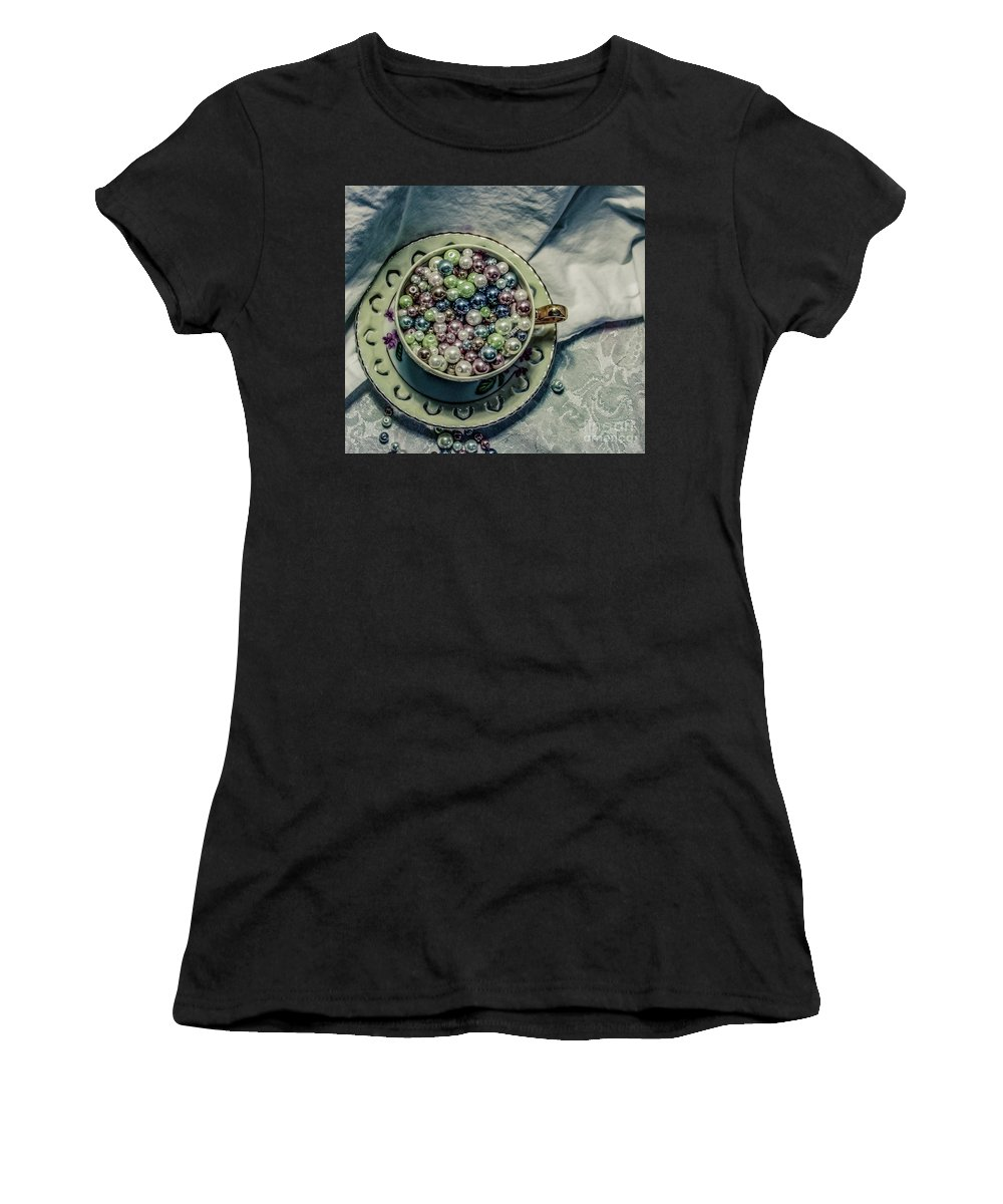 Green Women's T-Shirt (Athletic Fit) featuring the photograph Cup Of Beads by Chellie Bock