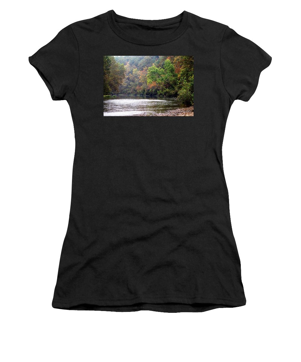 Current River Women's T-Shirt featuring the photograph Current River Fall by Marty Koch