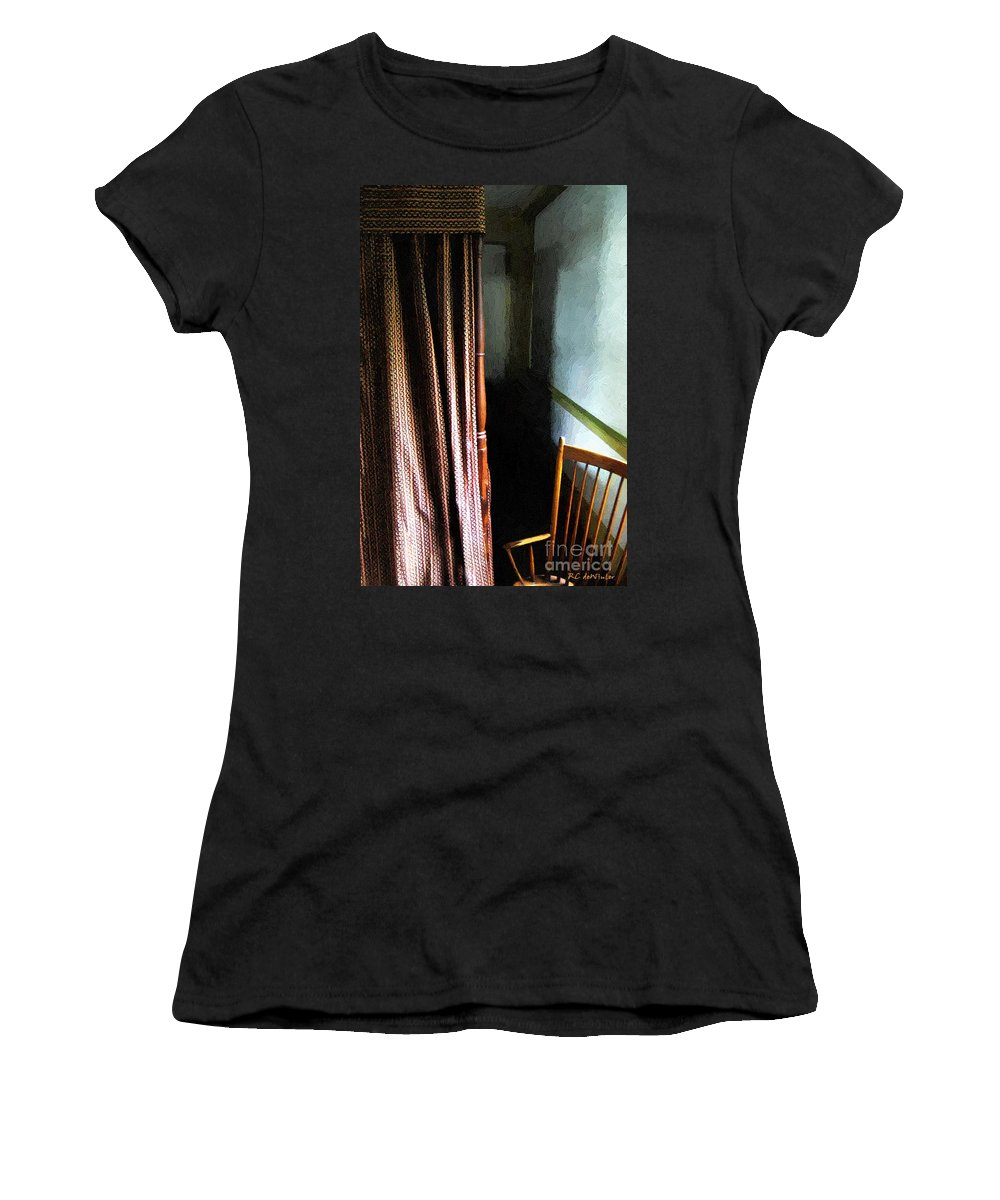 Americana Women's T-Shirt (Athletic Fit) featuring the painting Curtains Closed by RC DeWinter