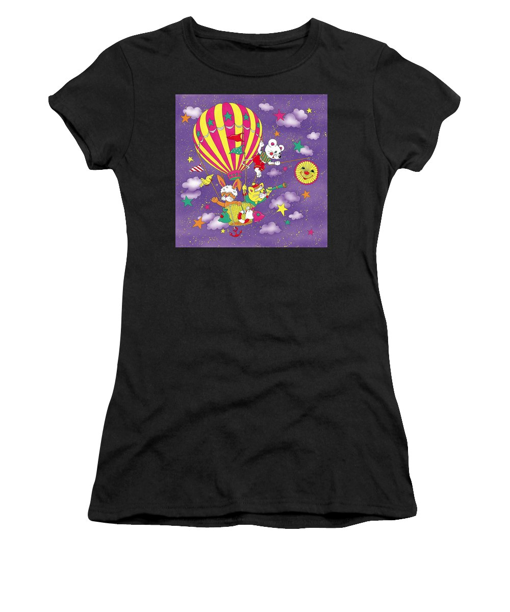 Cute Women's T-Shirt (Athletic Fit) featuring the mixed media Cute Animals In Air Balloon by Patrick Hoenderkamp