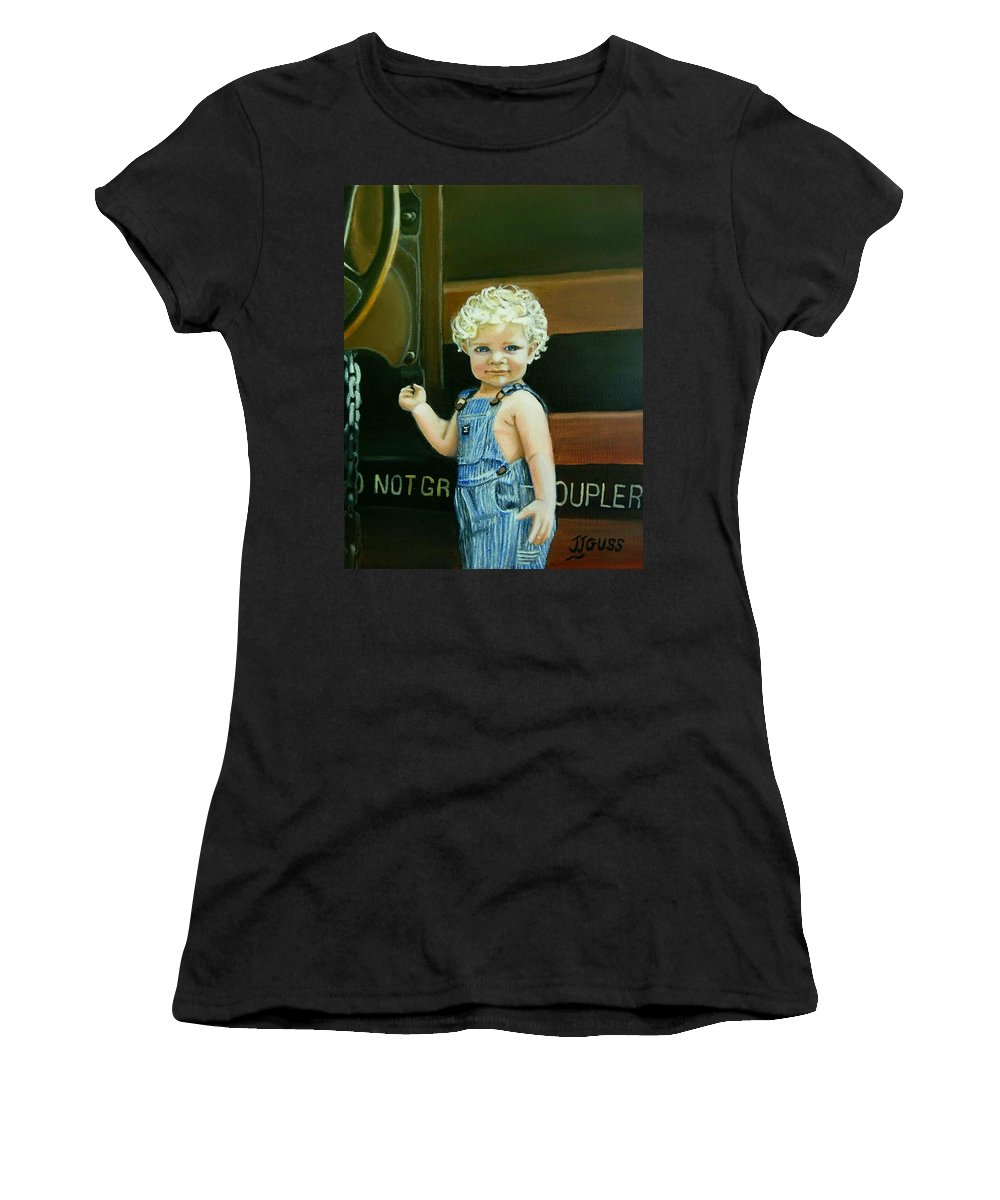 Train Women's T-Shirt featuring the painting Cutie By The Train by Janet Guss