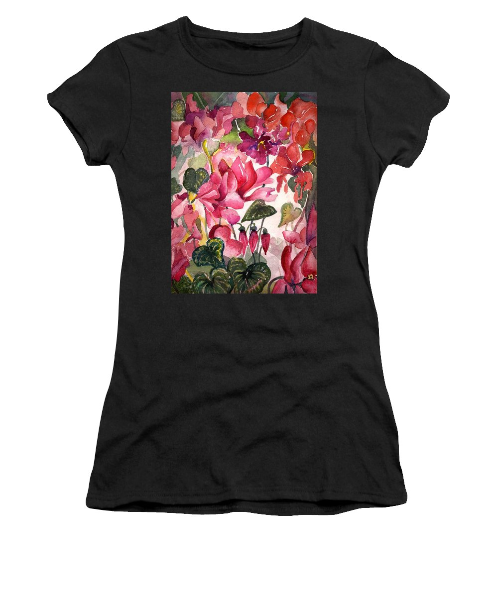 Cyclamen Women's T-Shirt (Athletic Fit) featuring the painting Cyclamen by Mindy Newman