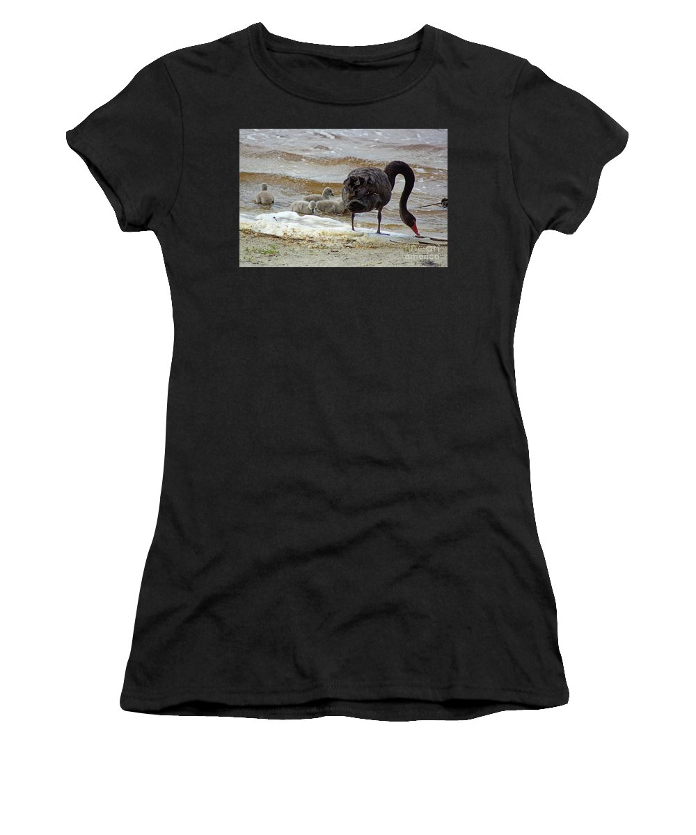Family Women's T-Shirt featuring the photograph Cygnus Atratus Iv by Cassandra Buckley