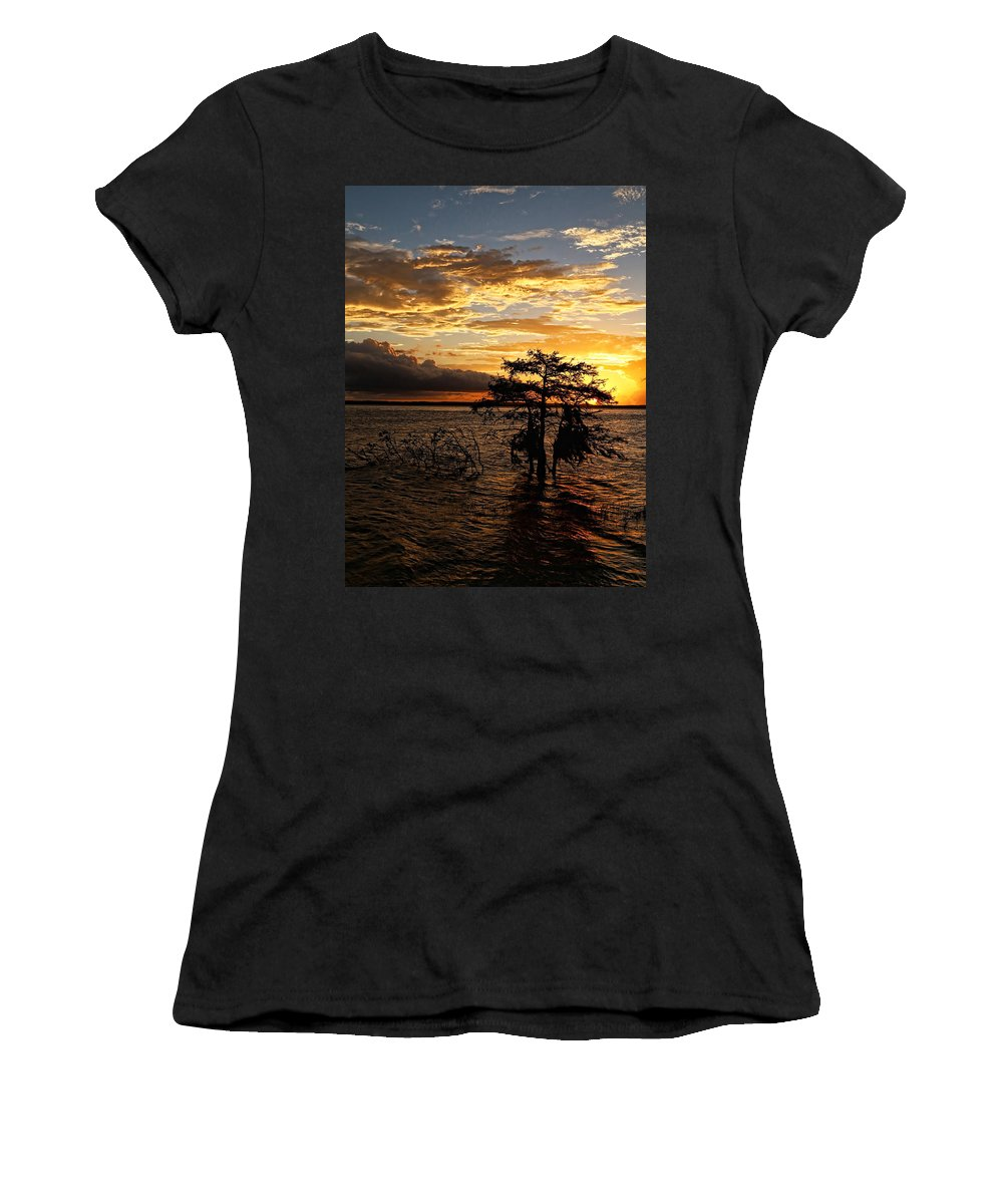 America Women's T-Shirt featuring the photograph Cypress Sunset by Judy Vincent