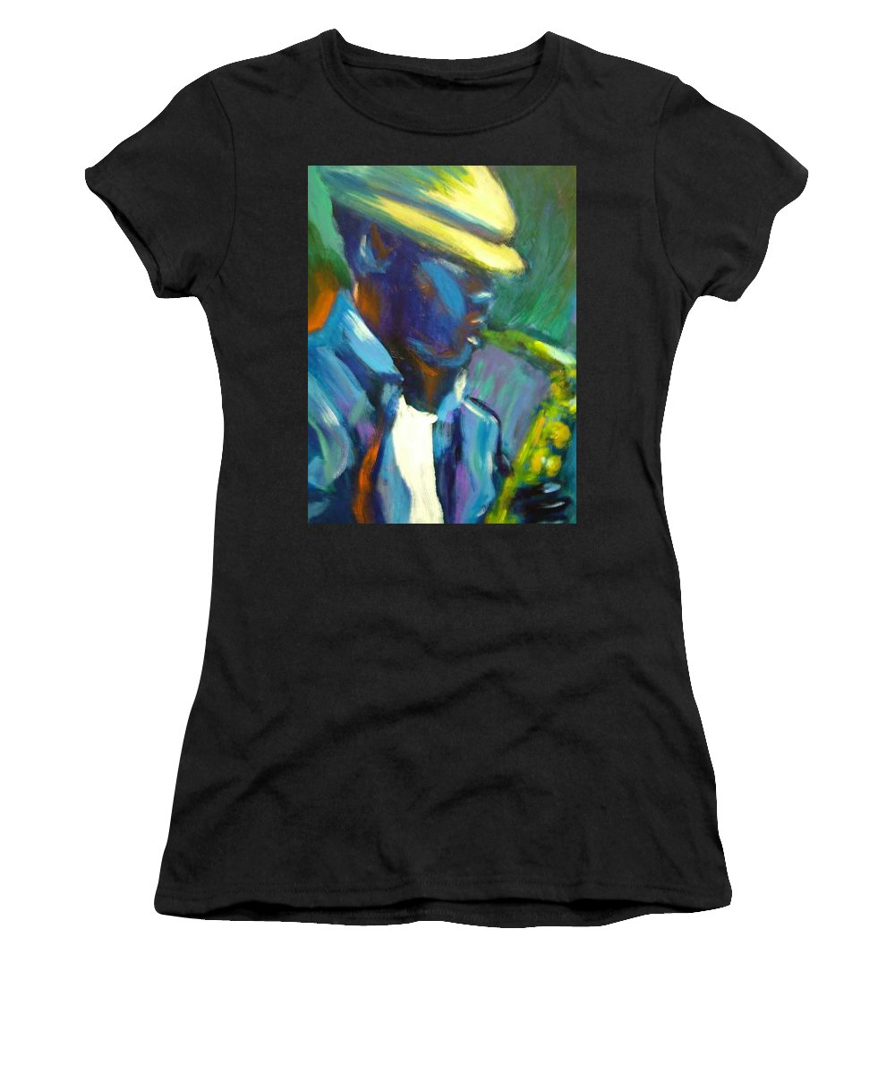 Sax Player Women's T-Shirt (Athletic Fit) featuring the painting D by Jan Gilmore