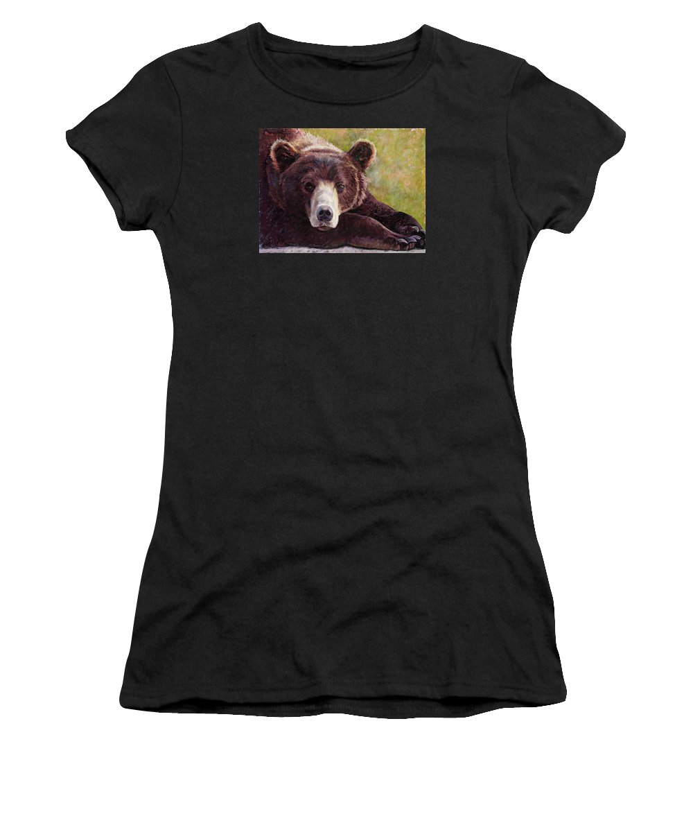 Bear Women's T-Shirt (Athletic Fit) featuring the painting Da Bear by Billie Colson