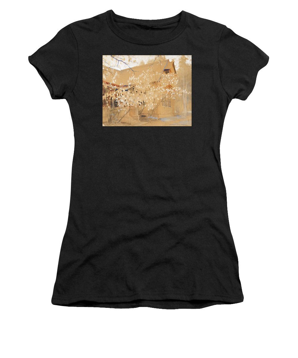 Isaak Ilich Levitan 1860 - 1900 Dacha In Spring Women's T-Shirt (Athletic Fit) featuring the painting Dacha In Spring by MotionAge Designs
