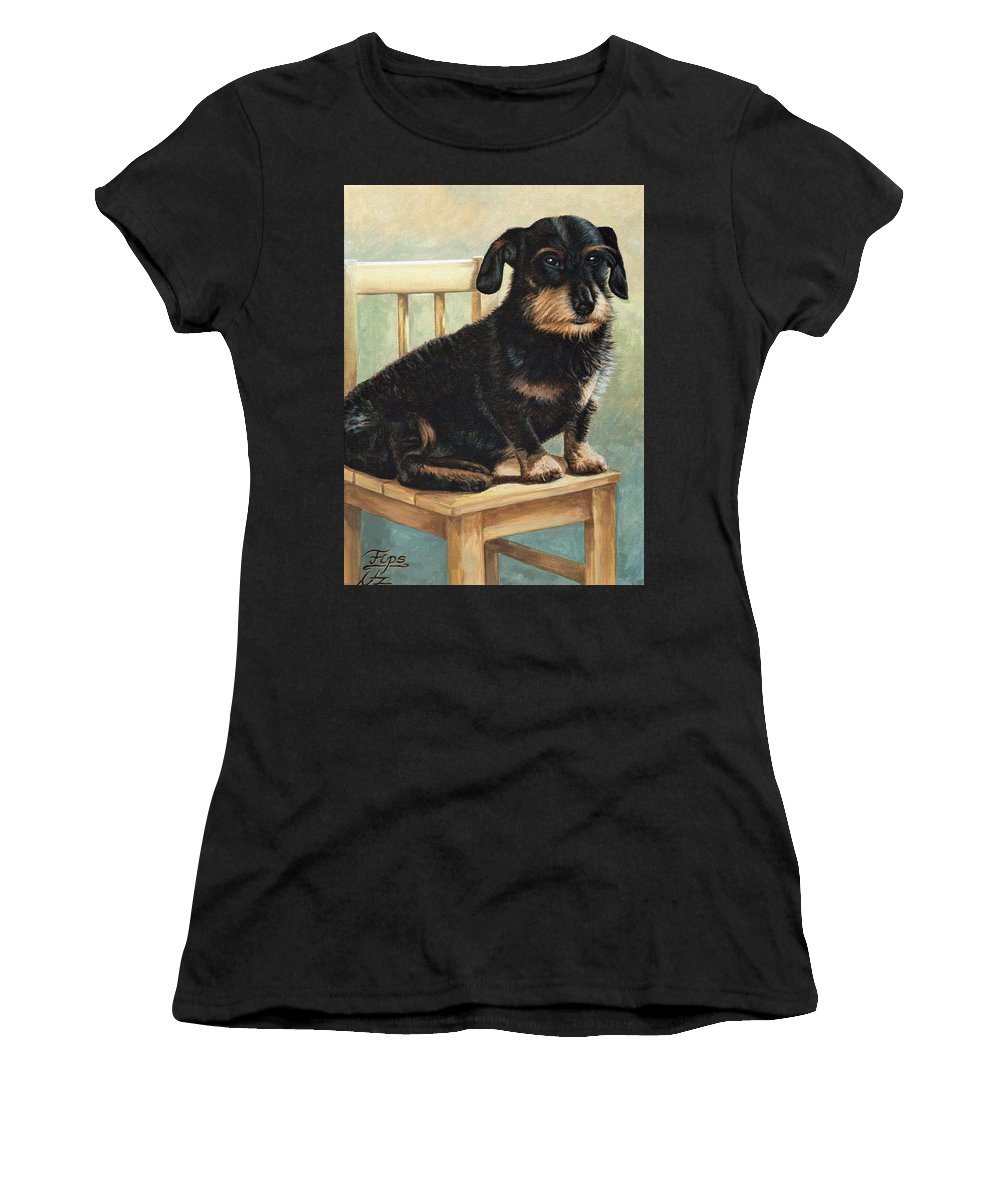 Dog Women's T-Shirt featuring the painting Dachshund by Nicole Zeug