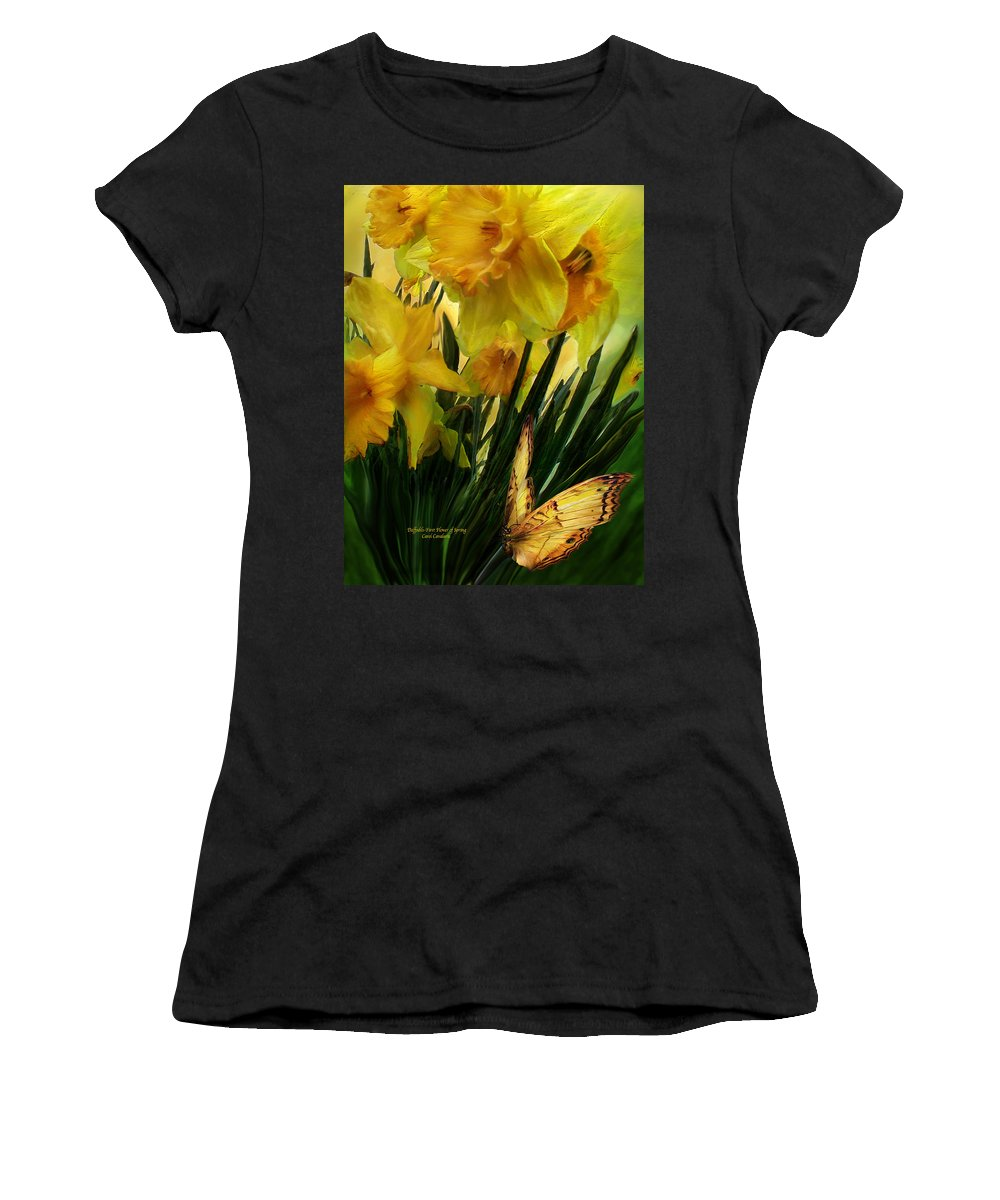 Daffodil Women's T-Shirt (Athletic Fit) featuring the mixed media Daffodils - First Flower Of Spring by Carol Cavalaris