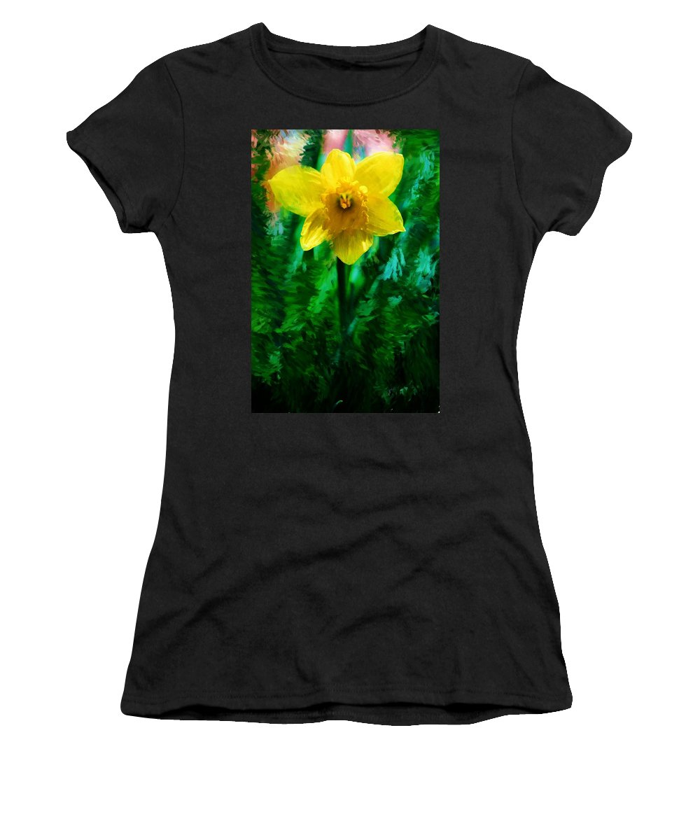 Abstract Women's T-Shirt (Athletic Fit) featuring the photograph Daffy Dill by David Lane