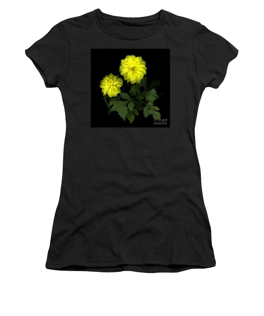 Yellow Women's T-Shirt (Athletic Fit) featuring the photograph Dahlia by Christian Slanec