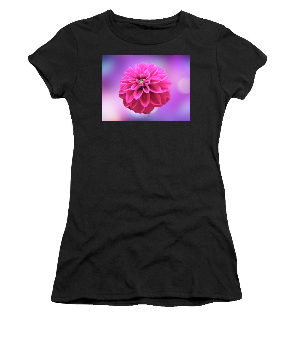 Dahlia Women's T-Shirt featuring the photograph Dahlia On Color by Johanna Hurmerinta