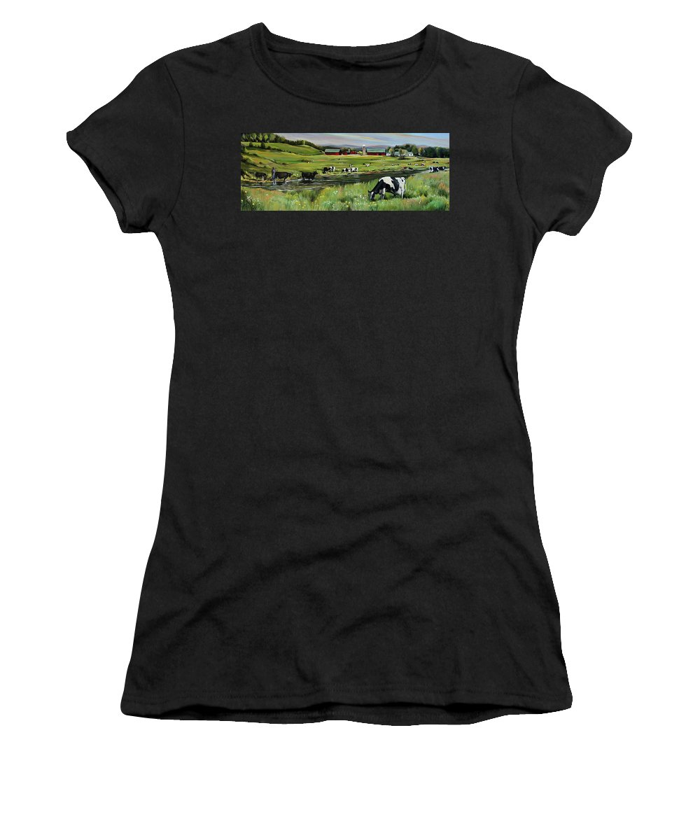 Landscape Women's T-Shirt (Athletic Fit) featuring the painting Dairy Farm Dream by Nancy Griswold