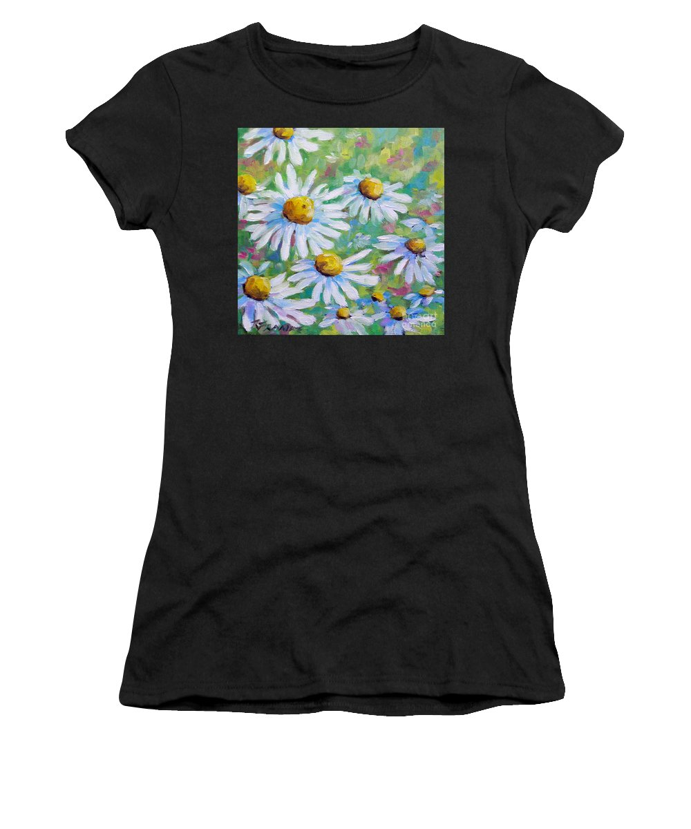 Art Women's T-Shirt (Athletic Fit) featuring the painting Daisies In Spring by Richard T Pranke