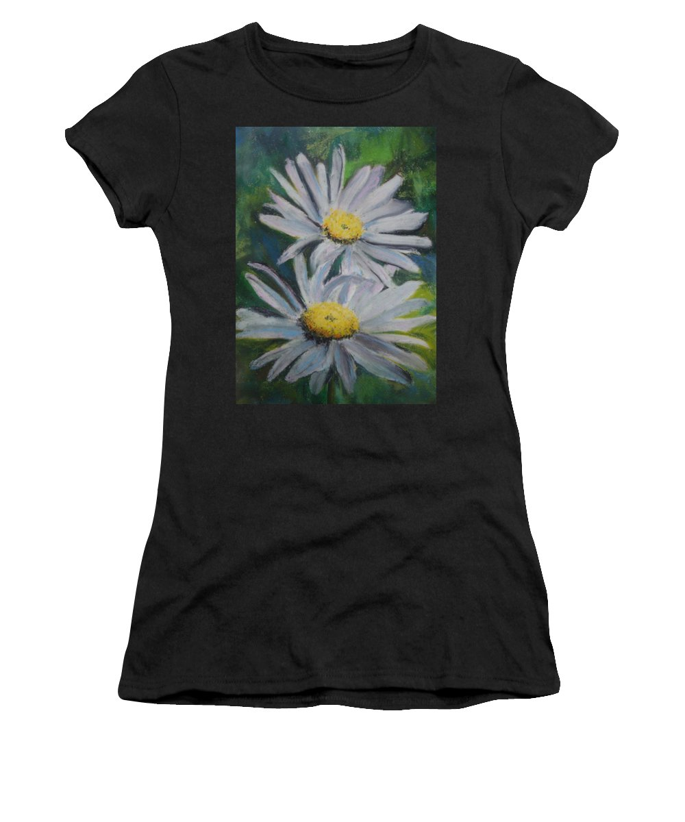 Daisies Women's T-Shirt (Athletic Fit) featuring the painting Daisies by Melinda Etzold