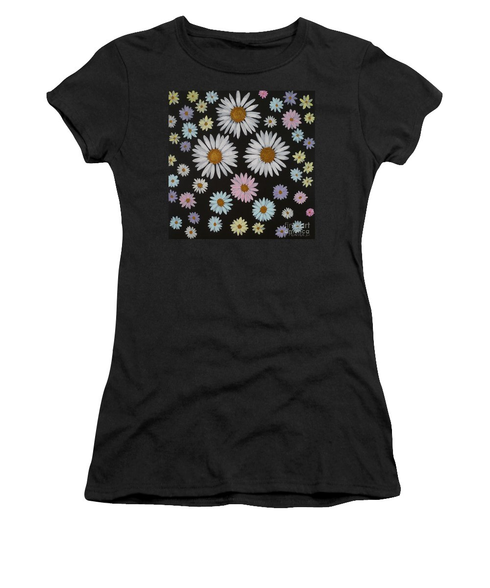 Daisy Women's T-Shirt featuring the painting Daisies On Black by Monika Shepherdson