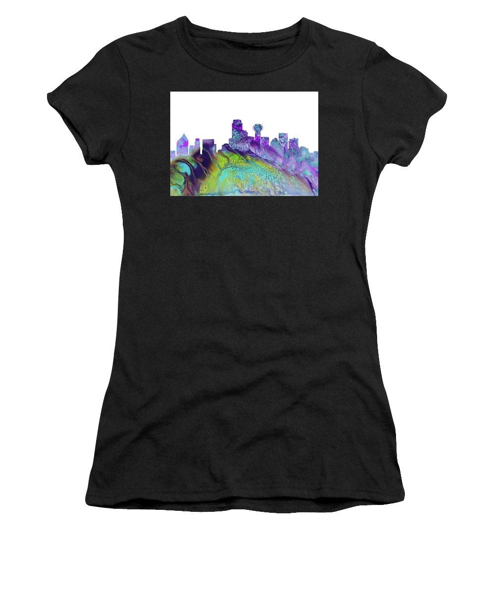 Dallas City Skyline Women's T-Shirt featuring the digital art Dallas Skyline 4 by Erzebet S