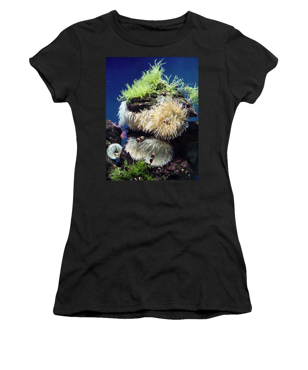 Coral Women's T-Shirt (Athletic Fit) featuring the photograph Dance Of The Anemones by Lene Pieters
