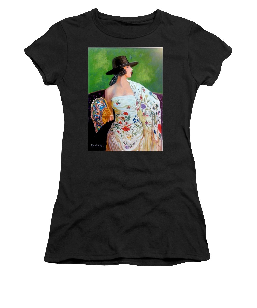 Women Women's T-Shirt (Athletic Fit) featuring the painting Dancer by Jose Manuel Abraham