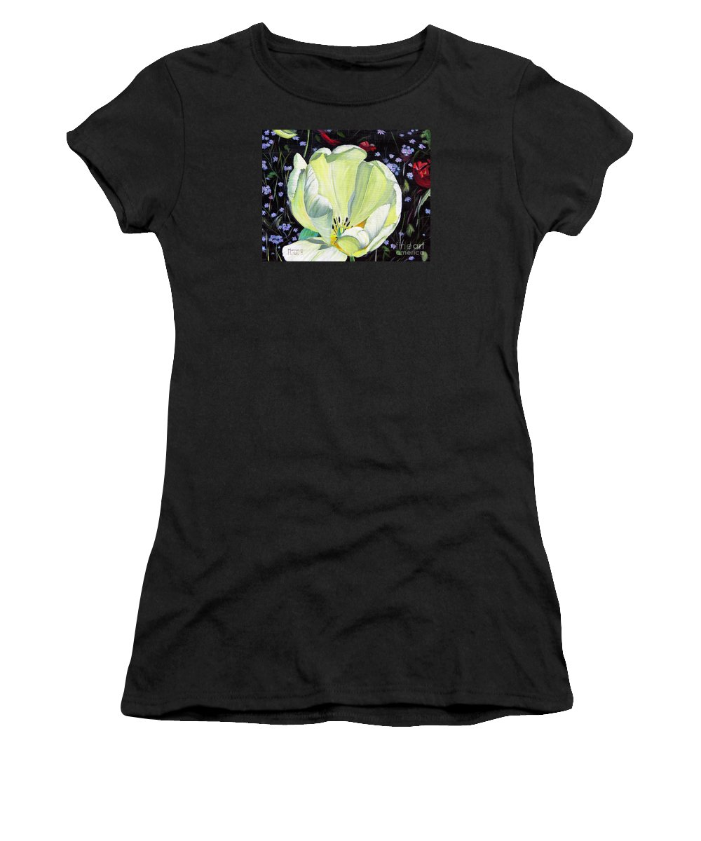 Tulip Women's T-Shirt (Athletic Fit) featuring the painting Dancing Alone by Marilyn McNish