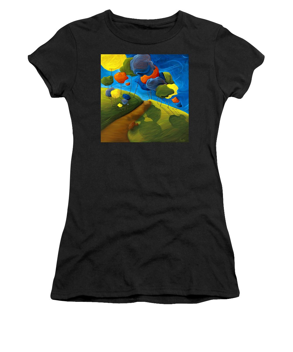 Landscape Women's T-Shirt (Athletic Fit) featuring the painting Dancing Shadows by Richard Hoedl