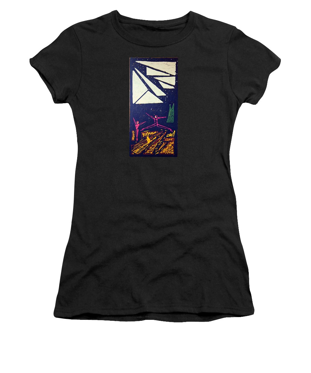 Dancers Women's T-Shirt (Athletic Fit) featuring the mixed media Dancing Under The Starry Skies by J R Seymour