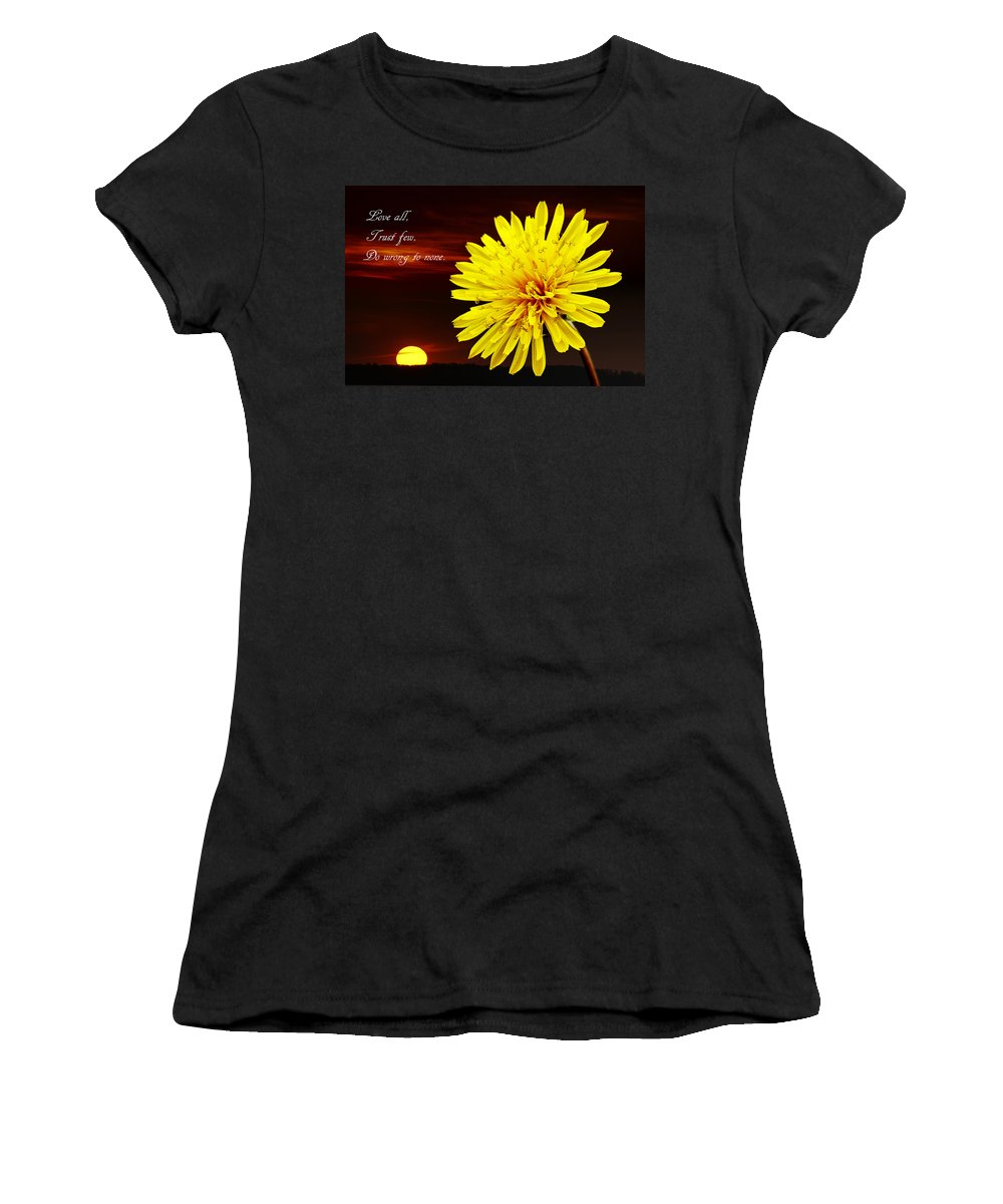 Flower Women's T-Shirt (Athletic Fit) featuring the photograph Dandelion Against Sunset With Inspirational Text by Donald Erickson